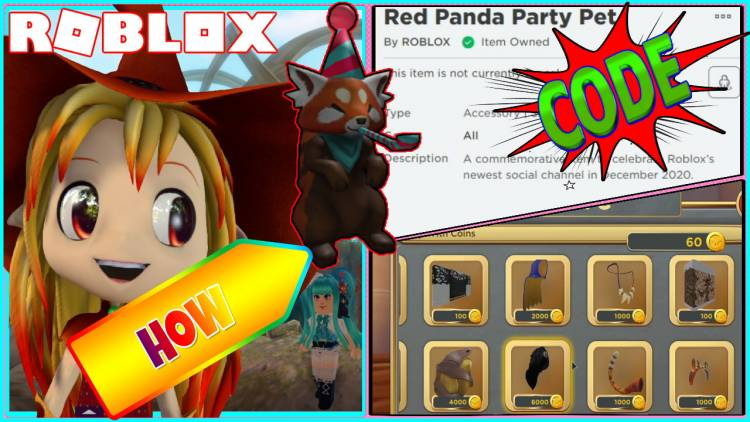 Roblox Promo Code for Red Panda Party Pet Gamelog - December 12 2020