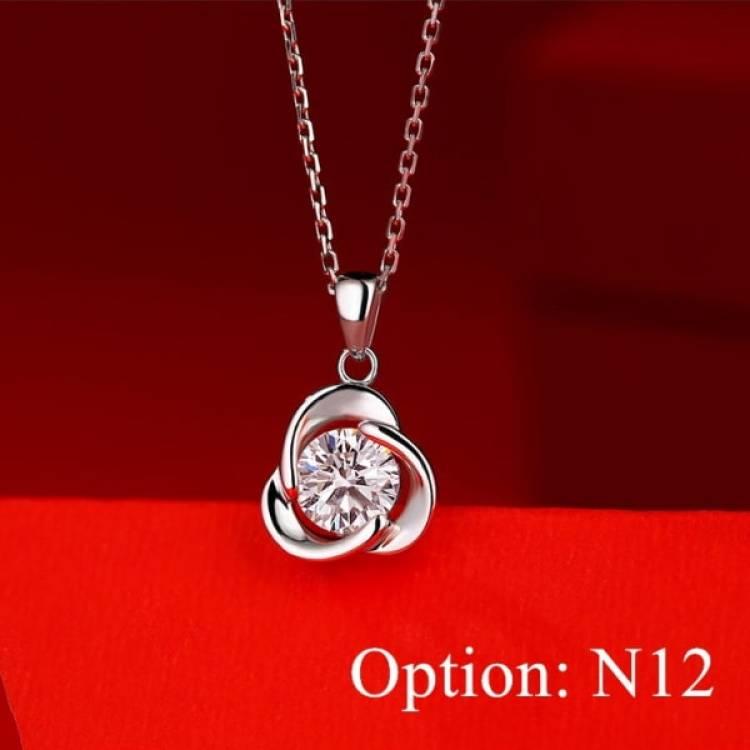 Moissanite Rose style Diamond Pendant Necklace Jewelry