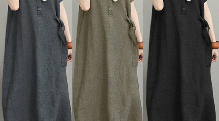 ZANZEA Women Buttons Neck Long Shirt Dress Lapel Short Sleeve Midi Dress Kaftan Dress
