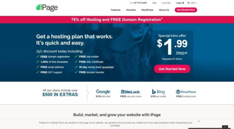 75% off Hosting and FREE Domain Registration+